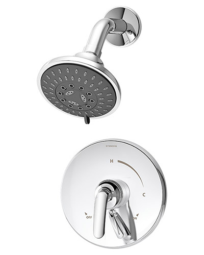 Picture of a pressure balance Elm shower system, shown in chrome
