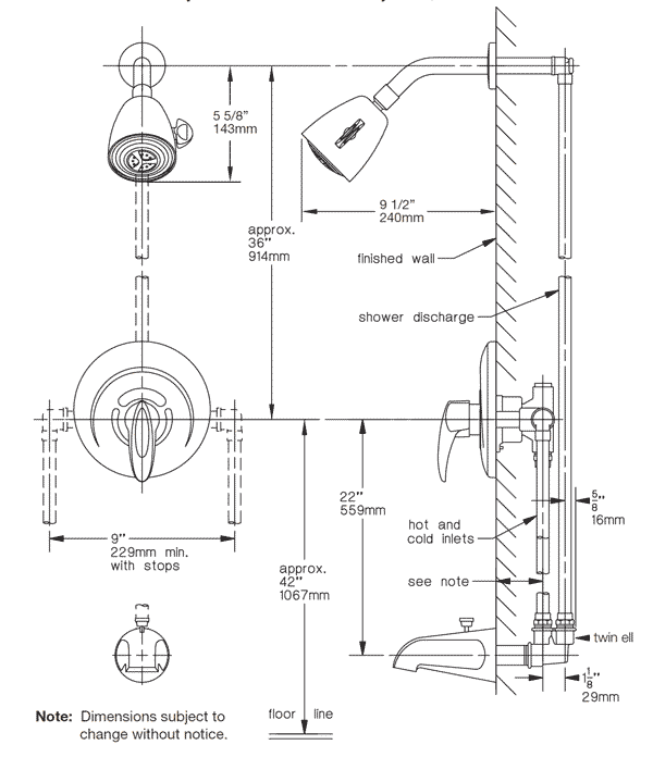 Standard Shower Mixer Tap Height on moen shower diverter valve diagram