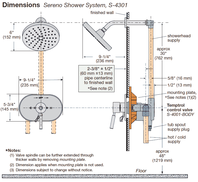 sereno series shower faucet with integral volume control