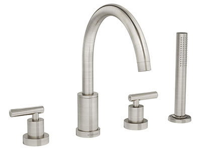 roman tub faucet with hand shower diverter.  Sereno Series Roman Tub Faucet with Handshower Satin Nickel series tub and shower faucets by Symmons
