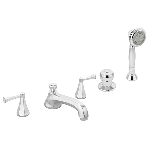 Image of Canterbury Roman tub faucet with handshower, shown in chrome