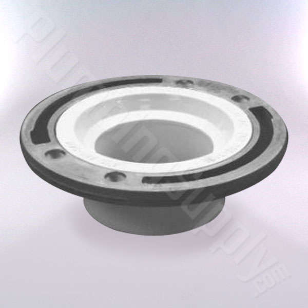Toilet flange with aluminum, non-corrosive, ring