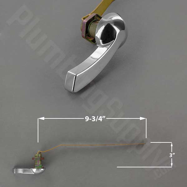 Chrome offset solid brass front mount tank lever