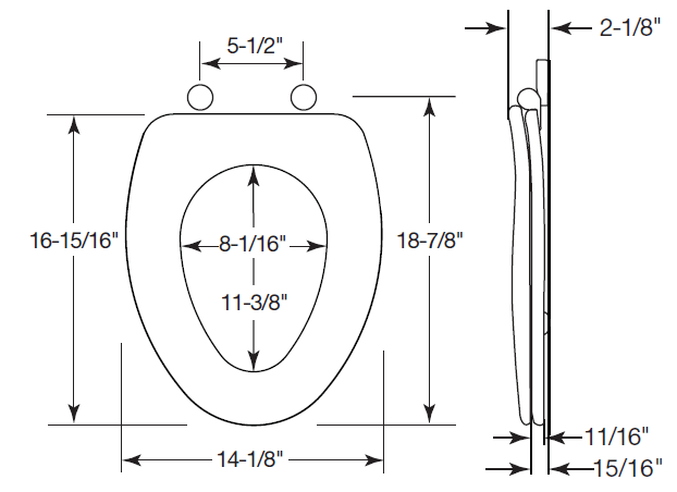Awesome ... View Elongated Toilet Seat Dimensions ...