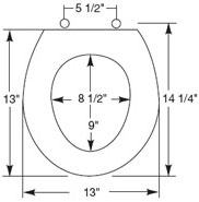 Dimensions of marine and RV toilet seat