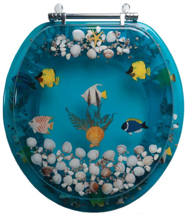Toilet seats with lifelike butterflies seahorses and