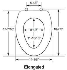 dimensions for the elongated sculptured wood toilet seats
