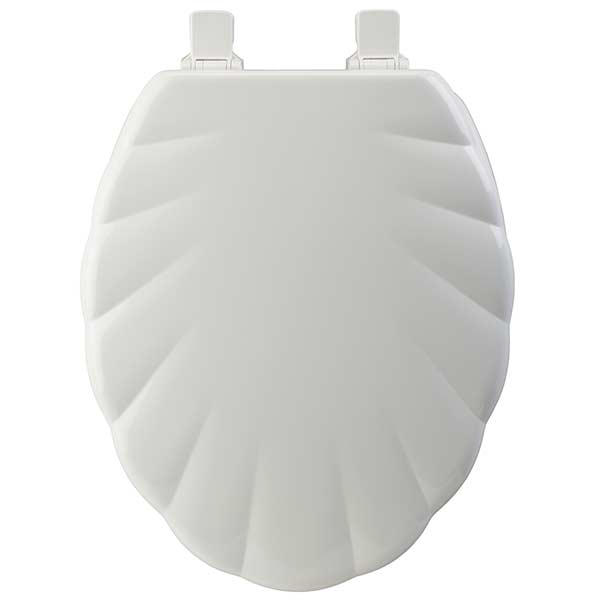 Shell pattern extended front toilet seat in white