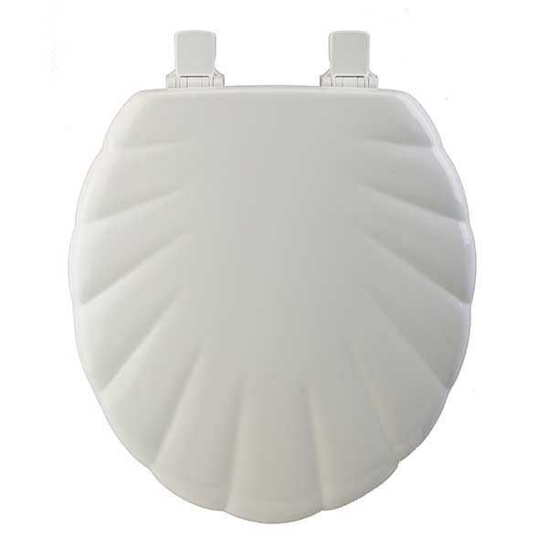 Shell pattern round front toilet seat in white