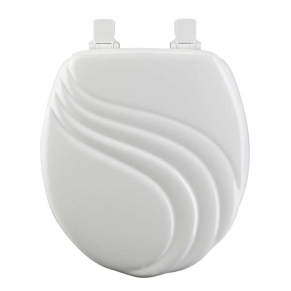 Swirl pattern round front toilet seat in white