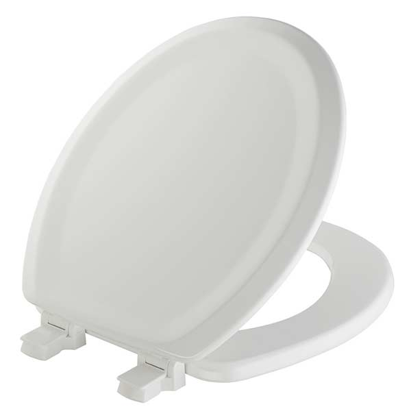 Traditional pattern round front toilet seat in white