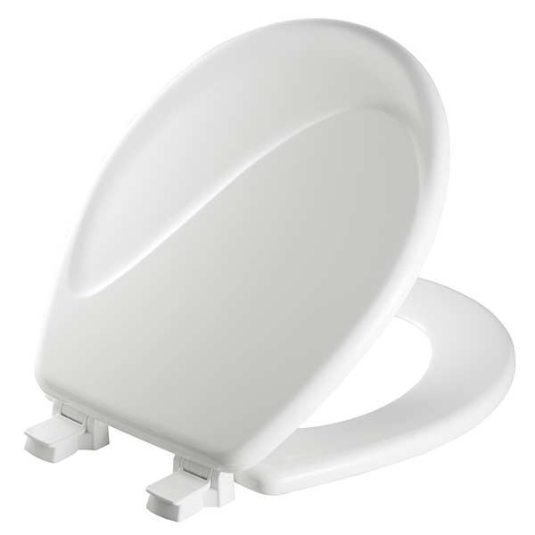 Wave pattern round front toilet seat in white