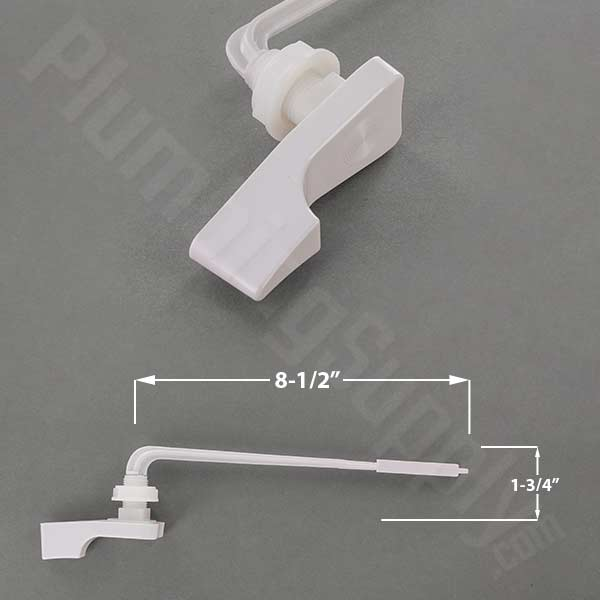 White plastic front mount tank lever