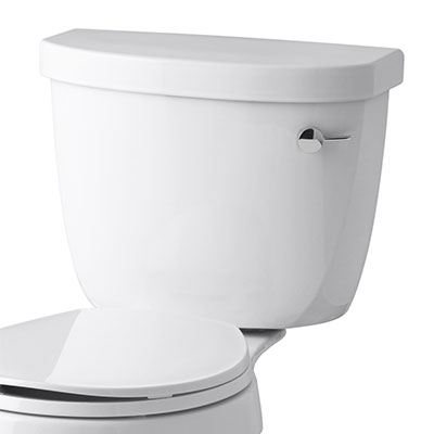 Toilet with trip lever on right hand side