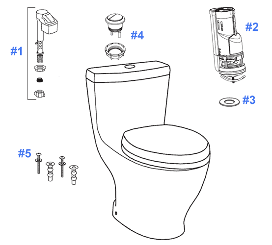 Parts Diagram For Aquia One Piece Toilets