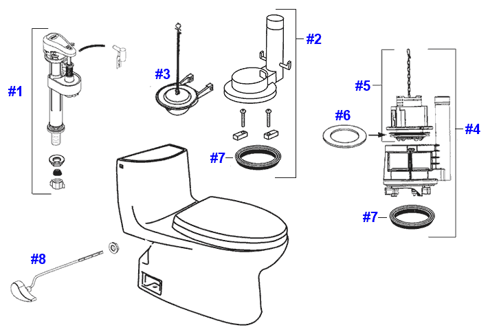 Parts diagram for Carlyle II toilets