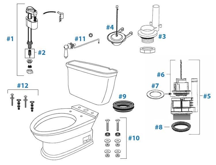 toto carrollton toilet replacement parts