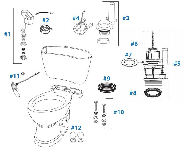 Toto Mercer Toilet Replacement Parts