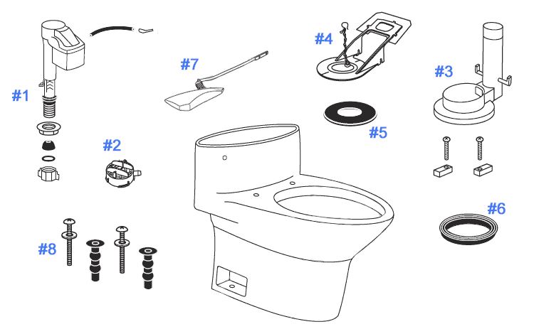 Parts Diagram For One Piece Pacifica Toilets