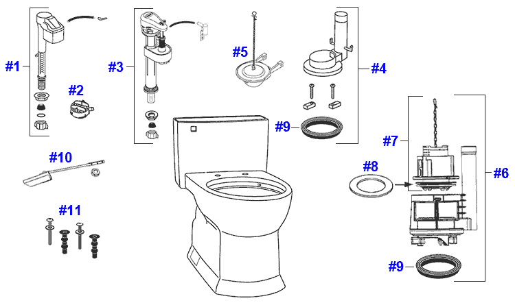 Parts diagram for Soiree toilets