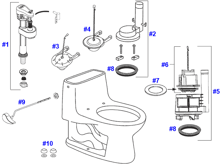 Parts diagram for Ultramax one-piece toilets