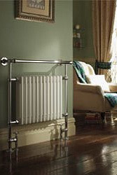 Floor mounted radiator-style towel warmer
