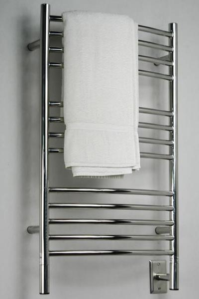 Image of Curved Towel Warmer With 13 Cross Bars, shown in polished stainless