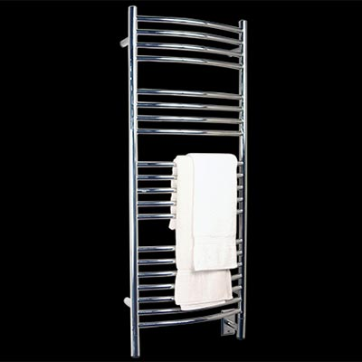 Image of Curved Towel Warmer With 20 Cross Bars, shown in polished stainless