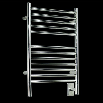 Image of 12 bar electric towel warmer, shown in polished stainless