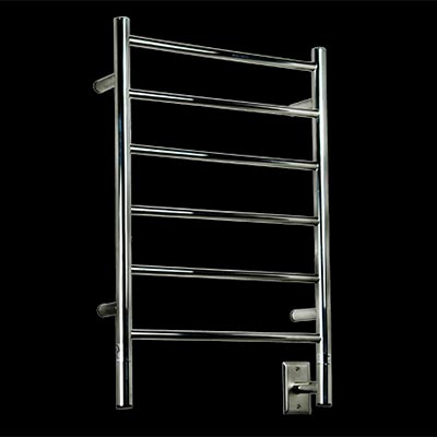 Image of 6 bar electric towel warmer, shown in polished stainless