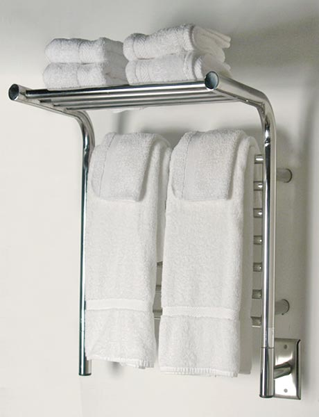 Image Of Wall Mounted Towel Warmer With Shelf, Shown In Polished Stainless