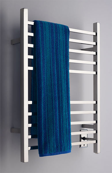 Image of Square Bar Towel Warmer With 10 Cross Bars, shown in polished stainless