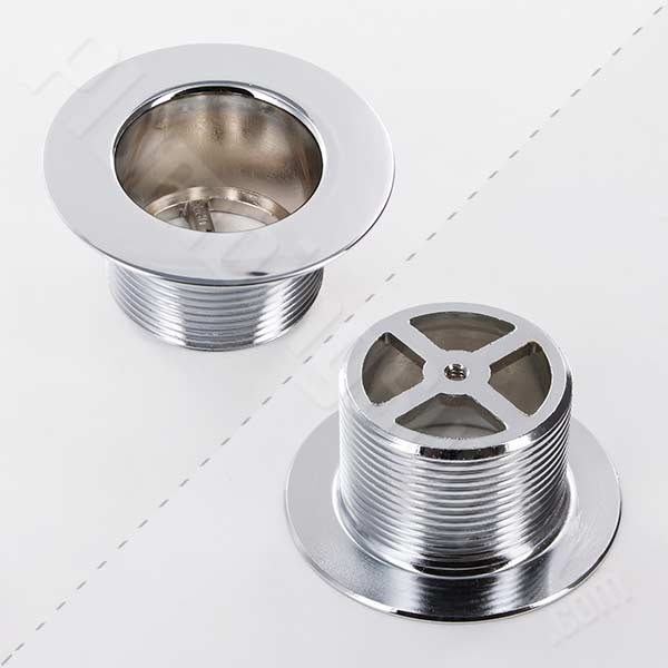 picture of polished chrome strainer body with coarse threads