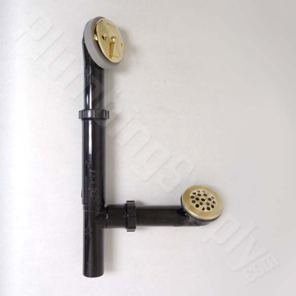 polished brass waste and overflow assembly. Bathtub Drains and Drain Parts   by Watco