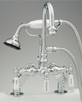 Sign of the Crab gooseneck deck mounted tub filler faucet with handshower
