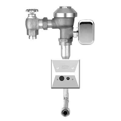 Low flow hardwired sensor operated urinal flushometer