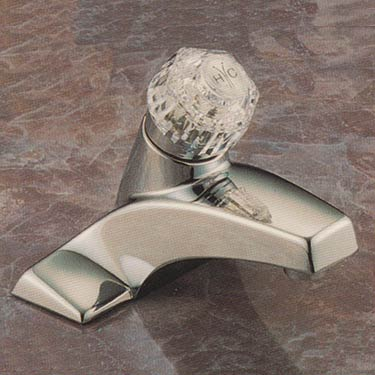 Valley budget bathroom faucet with round acrylic handle in chrome finish