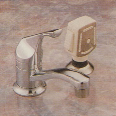 Valley single hole mount bathroom faucet with handle and shampoo spray in finish