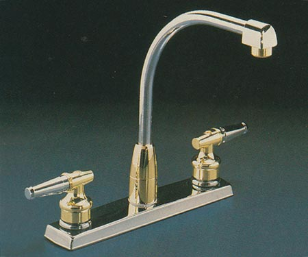 Valley TDB1730 two handle kitchen faucet in Chrome and Polished Brass finish