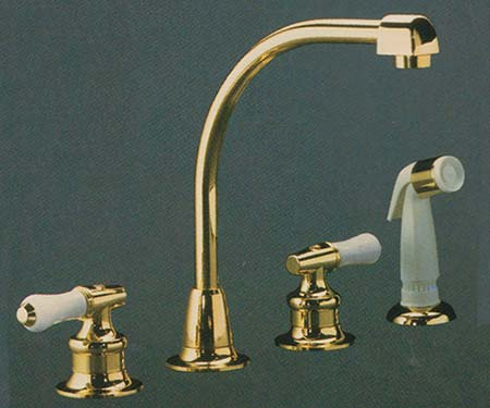 Valley TDWX1840 two handle widespread kitchen faucet in Polished Brass finish