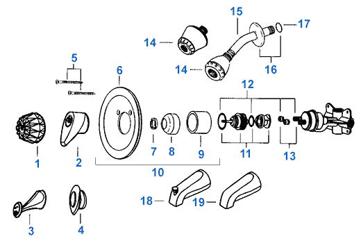 Delta Shower Faucet Parts Diagram.Valley Single Handle Shower Replacement Parts