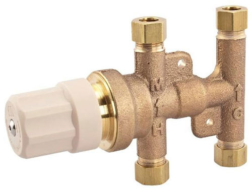 photo of the Watts thermostatic tempering valve with brass body