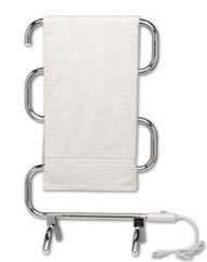free standing or wall mounted towel warmer, shown in chrome finish